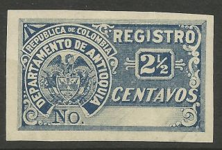 Colombia - Antioquia.  1896.  Proof Of The 2 - 1/2c Blue Registration Stamp. . photo