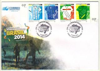 Argentina: Fifa World Soccer / Football Cup In Brazil (2014) Fdc photo