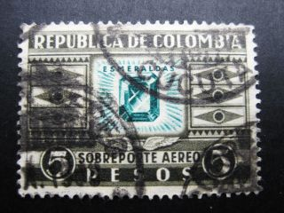Colombia 1932 5p Grayblk & Emer Stamp Sc C110