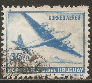 1947 Uruguay: Scott C152 Air Mail - Four - Motor Plane (36c - Ultramarine) photo