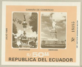 Ecuador 1985 Monuments To Liberty,  Sc 1086,  Souvenir Sheet,  Mounted For Framing photo