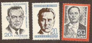 Uruguay Scott S 731 - 733,  Honoring Political Leaders,  Fg,  Nh,  1966 photo
