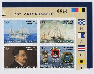Uruguay 2149 Tr Block Ships,  Capitan Miranda,  Crest photo