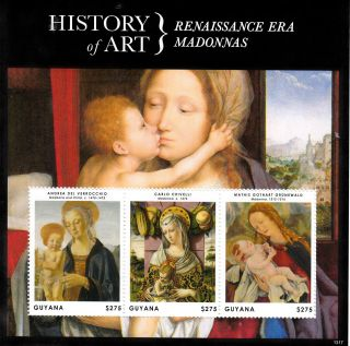 Guyana 2013 History Of Art Renaissance Era Madonnas 3v M/s Carlo Crivelli photo