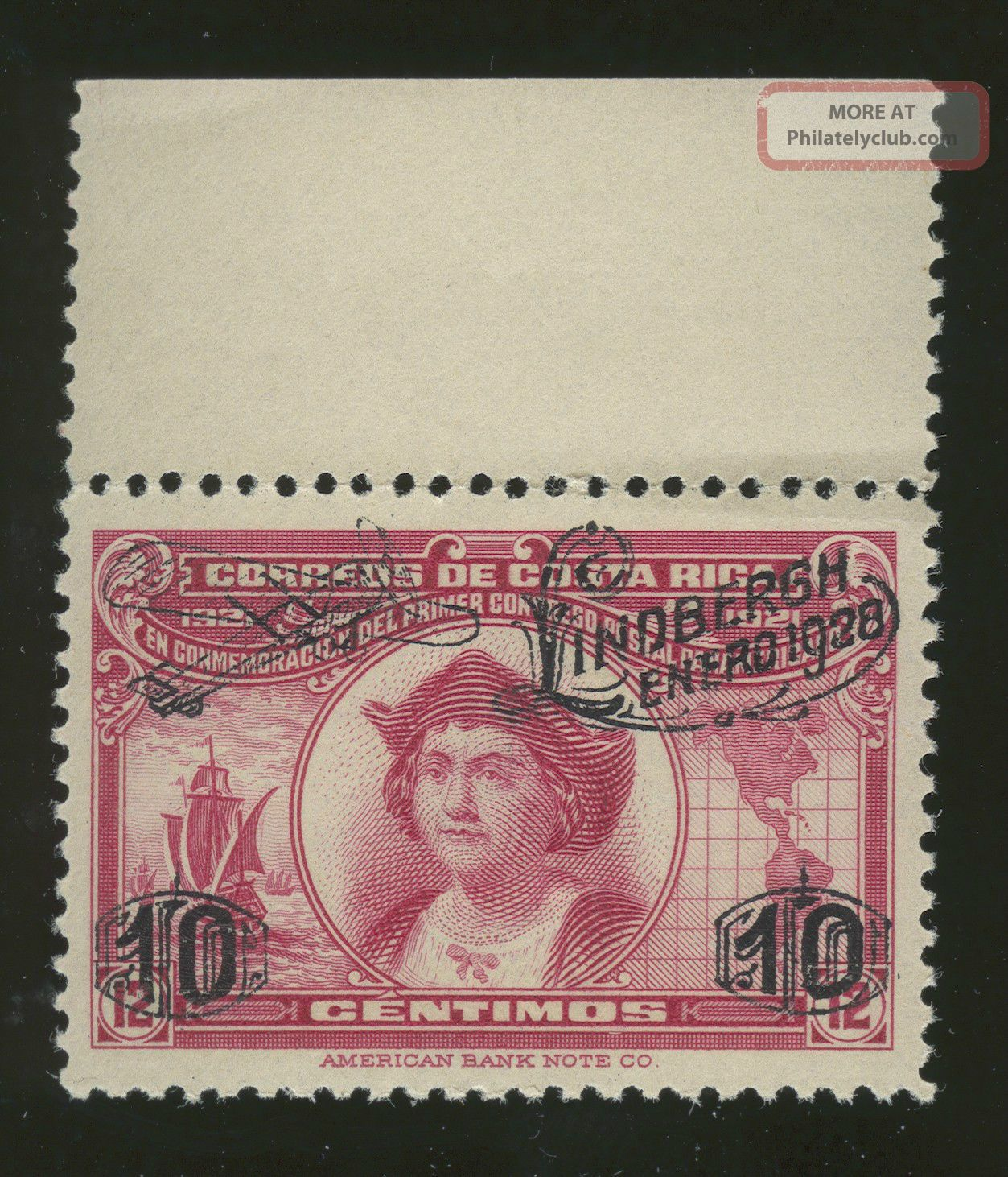 Costa Rica,  147 Overprint With Top Selvage Never Hinged Latin America photo