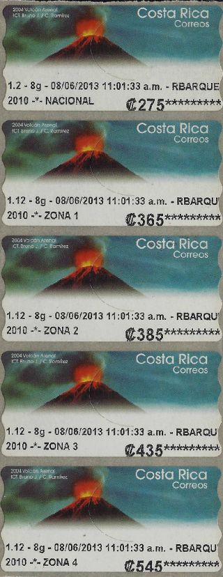 Costa Rica 2004 Arenal Volcano,  Volcán Arenal 5v Atm Self Adhesive 2013 photo