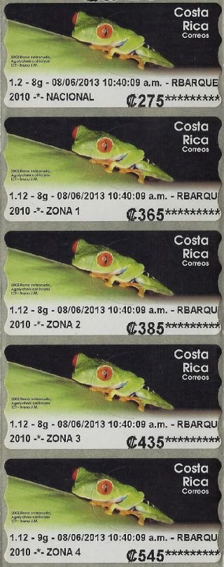 Costa Rica 2002 Frog,  Rana 5v Atm Self Adhesive 2013 photo