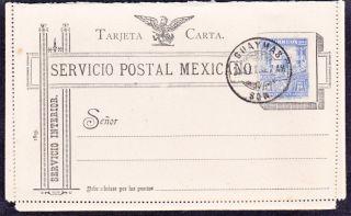 Mex 1900 Tarjeta Carta With 5c Mulita Guaymas Cancelled But Not Sent (ps270) photo