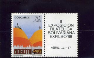 Bogota 450 Anniv.  Colombia 1988 And Label Ii Exp.  Filatelica Bolivariana photo