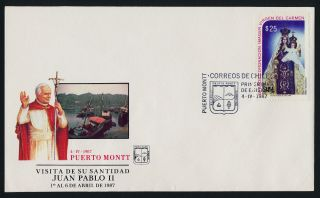 Chile 740 On Cover - Christmas,  Pope John Paul Ii Visit Cachet photo