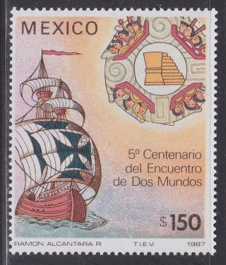 Mexico 1519 Discovery Of America 500th - Columbus,  Ship Nh Scv$3.  50 photo