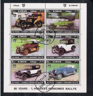 Ajman.  1970.  65 Years.  1.  Hubert V.  Herkomer Rallye.  Mini - Sheet.  6 Vintage Cars. photo