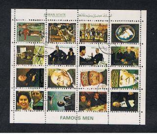 Ajman.  1971.  Mini - Sheet With Famous Men. photo