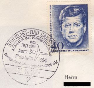 John F.  Kennedy Privat Fdc Germany Aero - Philately Aepc Club Airmail Minr.  241 Rar photo