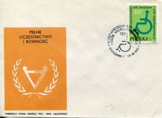 1981 Poland The International Year Of The Disabled Official Unaddressed Fdc photo