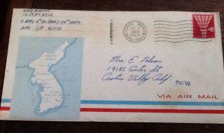 Korea War 1968 Via Air Mail Aaf Postal Service Cartoon On Back Military Mail photo