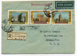 Russia.  Ussr.  Latvia.  1958.  Mi 1816,  18,  15.  1r.  3 St.  Registered Riga. .  Avia.  Cover photo