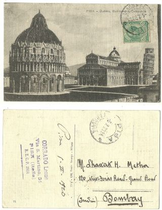 Italy 1920 Postcard Duoma Battistero Campanile Pisa India Bombay photo