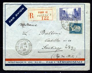 France To Chile 1932 Air Mail Cover Paris To Santiago 217th.  Frame Guillaumet photo