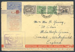 Australia 1931 A Pictorial Air Mail Cover First Air Mail Flight To England photo