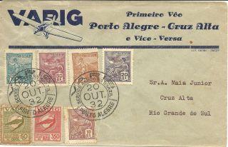 Brazil Varig 1st Flight Porto Alegre - Cruz Alta Cover 1932 Vf Ii photo