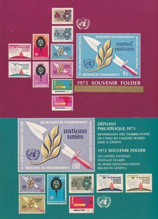 Un 1973 Issue (2) United Nations Souvenir Folders - York & Geneva Nh Vf photo