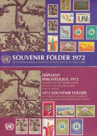 Un 1972 Issue (2) United Nations Souvenir Folders - York & Geneva Nh Vf photo