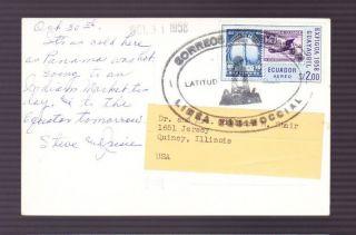 Ecuador 1958 Ppc To Quincy,  Il Latitude 0 Equatorial Line Large Oval Cancel photo