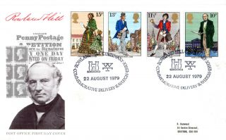 22 August 1979 Sir Rowland Hill Post Office First Day Cover Rayleigh Essex Shs photo