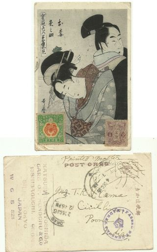 Japan 1916 Art Postcard Artist Signed Tokyo India Censor Chop Madras Hcv Stamp photo
