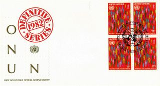 United Nations 1982 Definitives 17c Plate Block First Day Cover York Shs photo