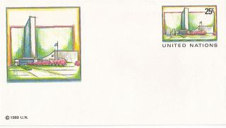 United Nations 1989 25c Pre Paid Envelope Small York photo