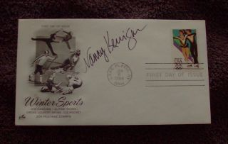 1984 Winter Olympics First Day Of Issue Cover (fdc) - Signed By Nancy Kerrigan photo