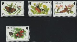 Jersey Sc568 - 571 Various Butterflies &moths 199` photo