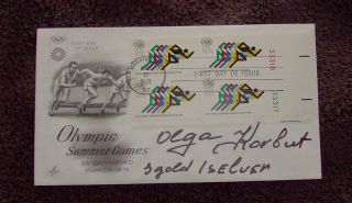 1972 Summer Olympics First Day Of Issue Cover (fdc) - Signed By Olga Korbut photo