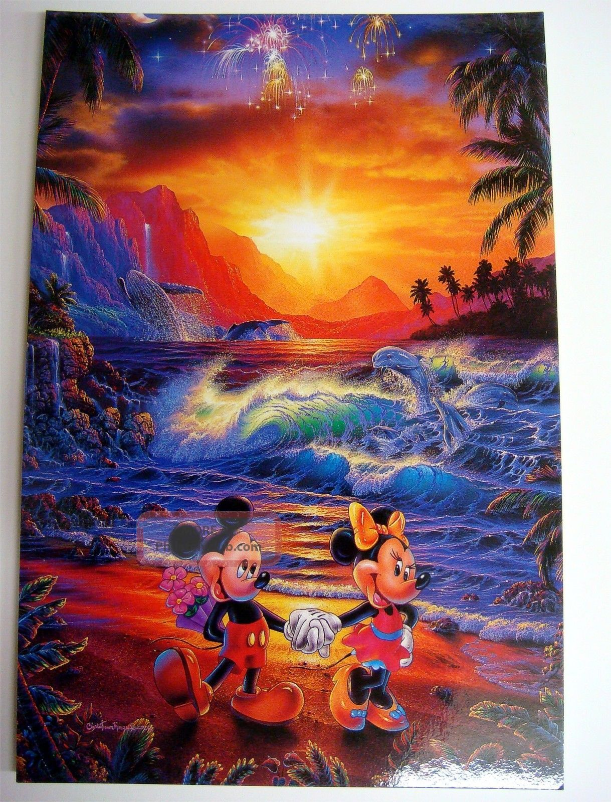 Disney Postcard Mickey Minnie Seaside Romance - The Art Of Lassen - Mikminpc Topical Stamps photo