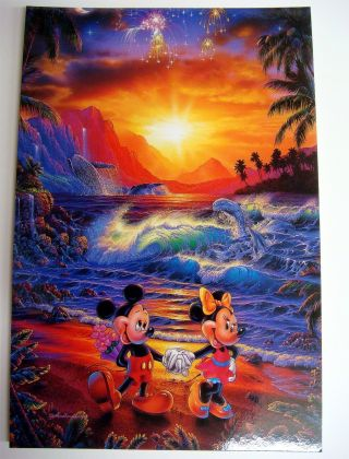 Disney Postcard Mickey Minnie Seaside Romance - The Art Of Lassen - Mikminpc photo