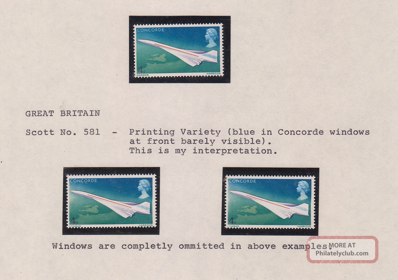 3 1967 Goaman Harrison 1st Flight Concorde Stamp Variations - 4d - Cockpit Windows Transportation photo