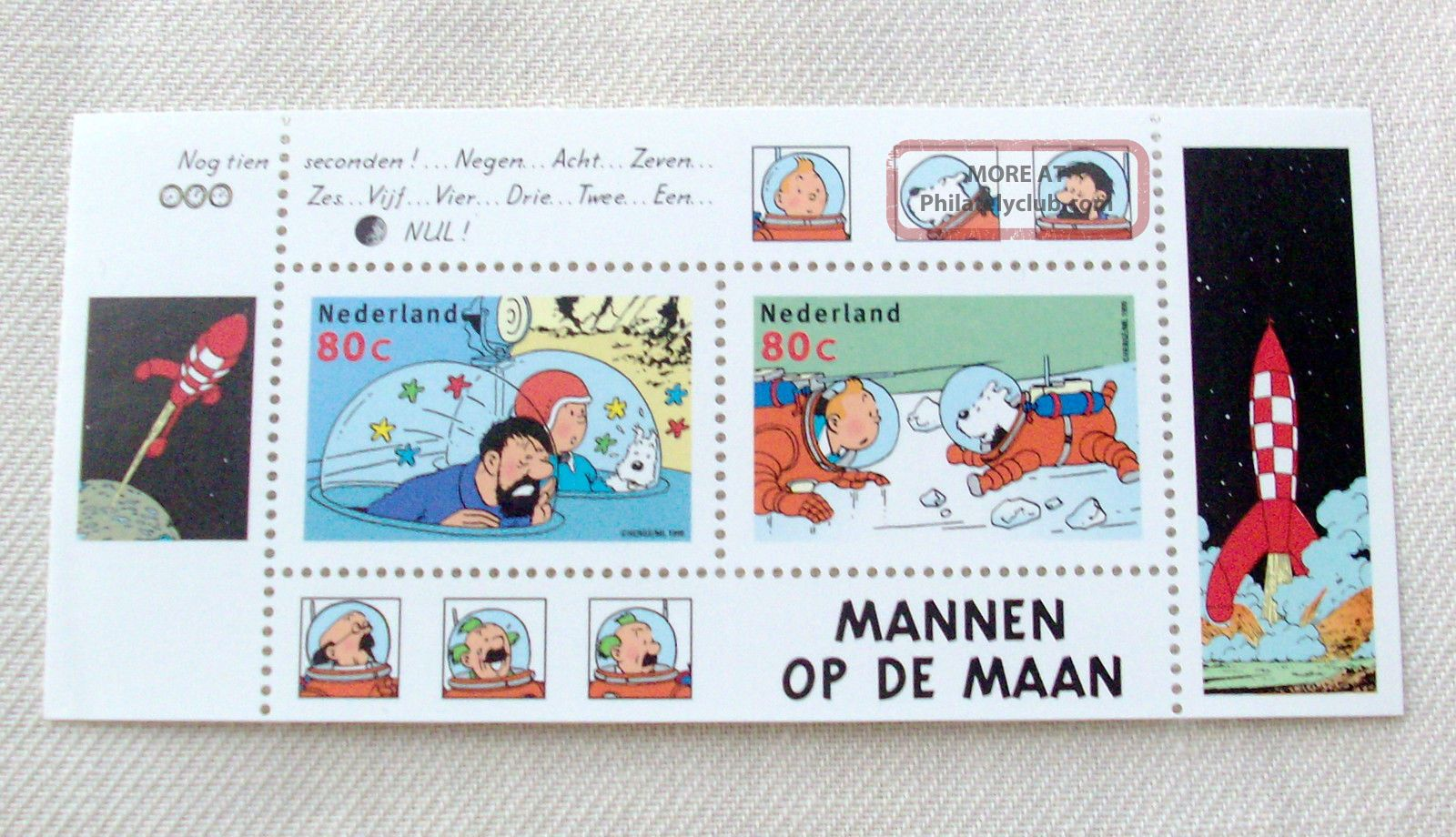 Netherlands 1999 Tintin ' Men On The Moon ' Souvenir Sheet - Limited Edition - Topical Stamps photo