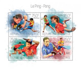 Togo 2013 - Table Tennis Contenders & Champions 4 Stamp Sheet 20h - 784 photo