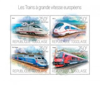 Togo 2013 - High Speed Trains Of Europe 4 Stamp Sheet 20h - 776 photo