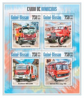 Guinea - Bissau 2013 Fire Trucks And Engines 4 Stamp Sheet Gb13507a photo