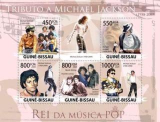 Guinea - Bissau - Michael Jackson Oprah,  Mccartney 5 Stamp Sheet Gb9416a photo