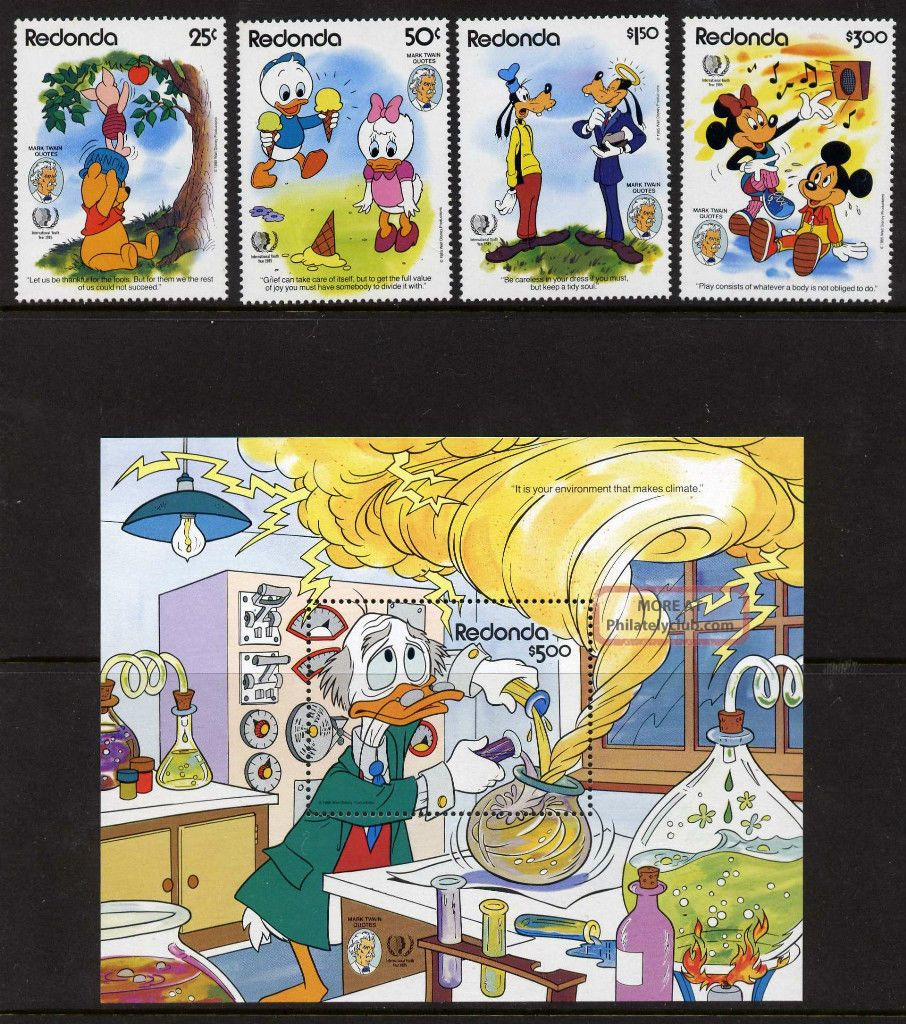 Redonda Disney,  Mark Twain Quotes,  International Youth Year Topical Stamps photo