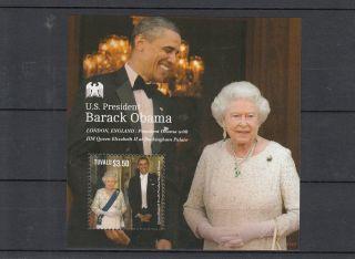 Tuvalu 2013 Us President Barack Obama I 1v S/s Queen Elizabeth Ii Royalty photo
