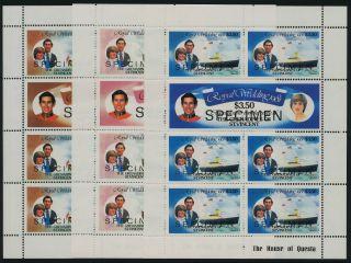 St Vincent Grenadines 210a,  2a4a Sheet,  Specimen O/p Charles & Diana Wedding photo