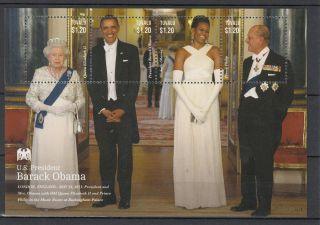 Tuvalu 2013 Us President Barack Obama I 4v M/s Queen Elizabeth Ii Royalty photo