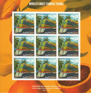 Tuvalu 2013 World ' S Most Famous Trains 9v M/s Orange Blossom Special photo