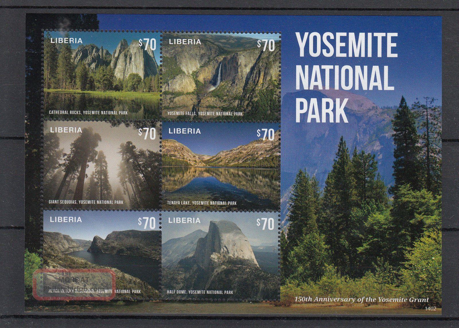 Liberia 2014 Yosemite National Park 4v M/s Grant 150th Anniv Falls Sequoias Topical Stamps photo