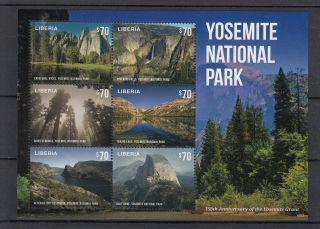 Liberia 2014 Yosemite National Park 4v M/s Grant 150th Anniv Falls Sequoias photo